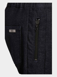 Men - Denim Drawstring Pant - Raw Italian Denim - detail image - one denim