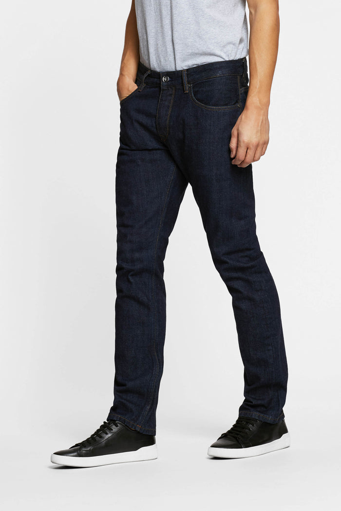 Men - Straight Fit Jean - Japanese Selvedge Denim - side image - one denim