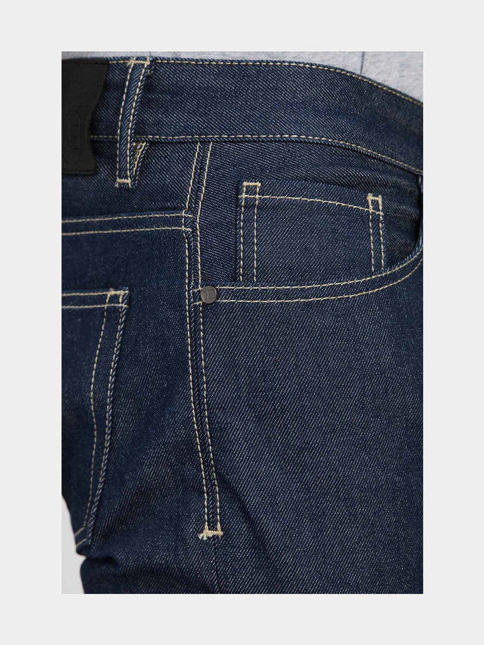 Men - Straight Fit Jean - Raw Japanese Selvedge Denim - detail side image - one denim