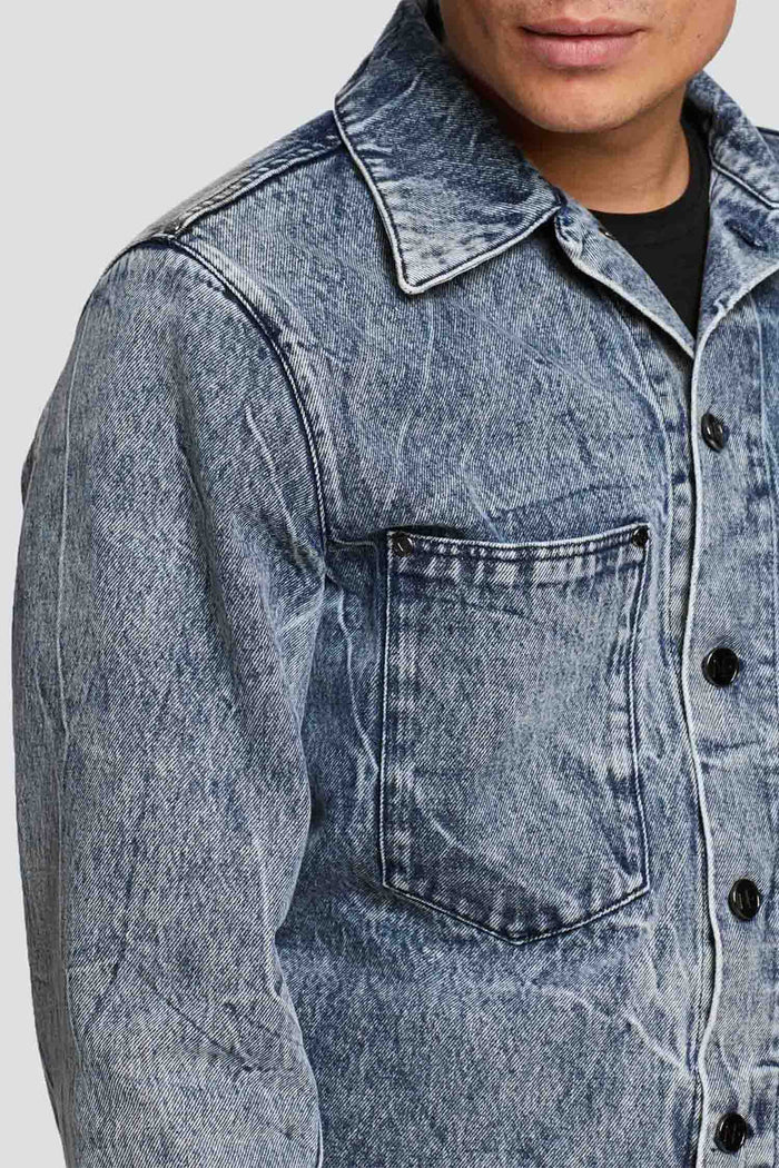 Men - Relaxed Fit  Denim Jacket - Italian Organic Denim - front image - one denim