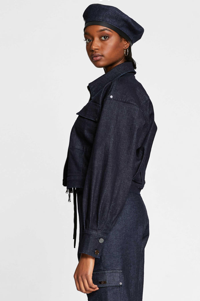 Women - Oversized Denim Jacket - Raw Italian Denim - side image - one denim