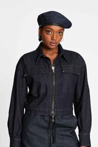 Women - Oversized Denim Jacket - Raw Italian Denim - front image - one denim