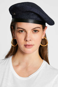 Women - Denim Beret - Raw Italian Denim - front image - one denim