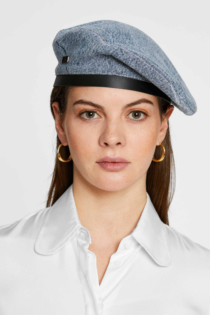 Women - Denim Beret - Italian Organic Denim - front image - one denim