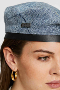Women - Denim Beret - Italian Organic Denim - detail image - one denim