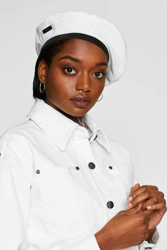 Women - White Denim Beret - Italian Organic Denim - front image - one denim