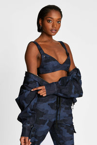 Women - Denim Bralette - Laser Military - Italian Recycled Denim - front image - one denim