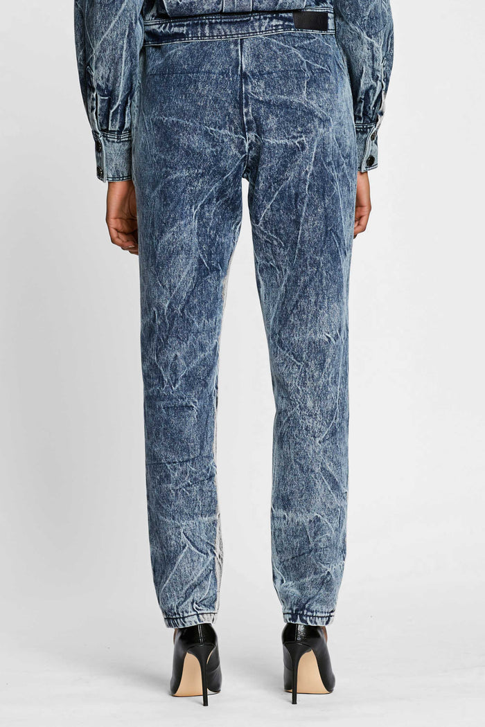 Women - Denim Drawstring Pant - Italian Organic Denim - back image - one denim