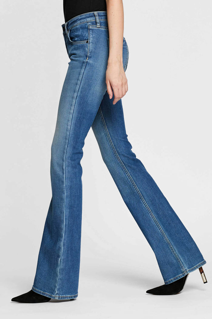Women - Light Blue Flare Jean - Japanese Denim - side image - one denim