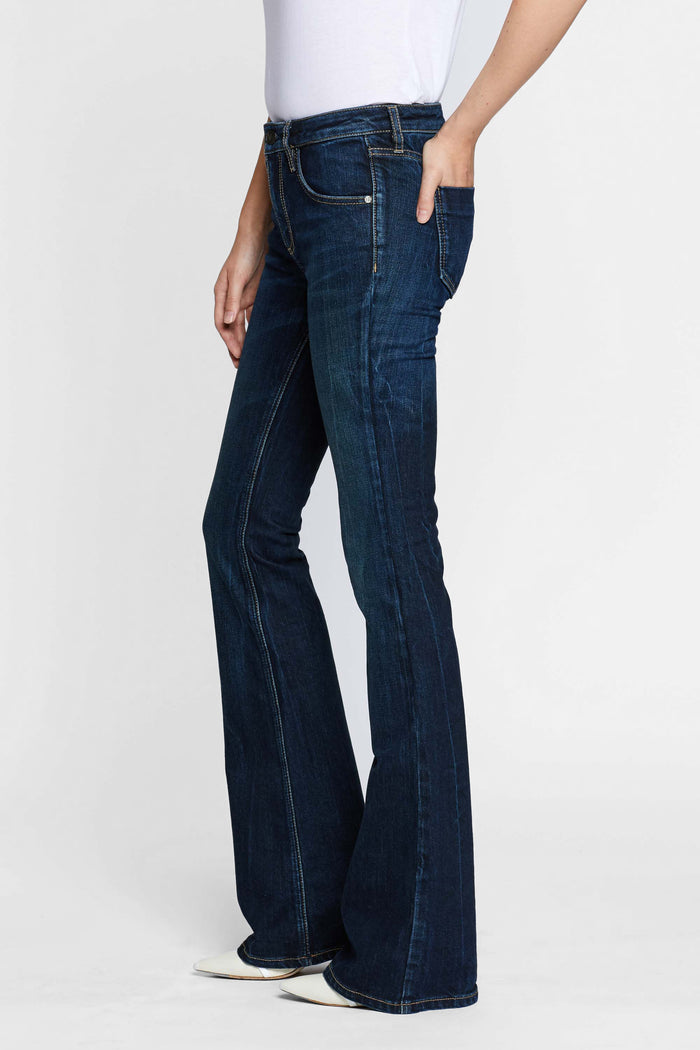 Women - Deep Blue Flare Jean - Japanese Denim - front image - one denim