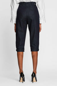 Women - Denim Harem Pant - Raw Italian Denim - back image - one denim
