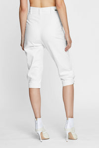 Women - White Denim Harem Pant  - Italian Organic Denim - back image - one denim