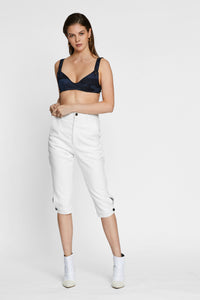 Women - White Denim Harem Pant  - Italian Organic Denim - front image - one denim