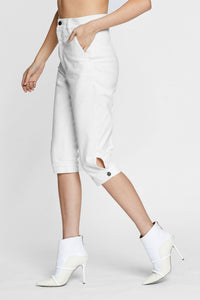 Women - White Denim Harem Pant  - Italian Organic Denim - side image - one denim