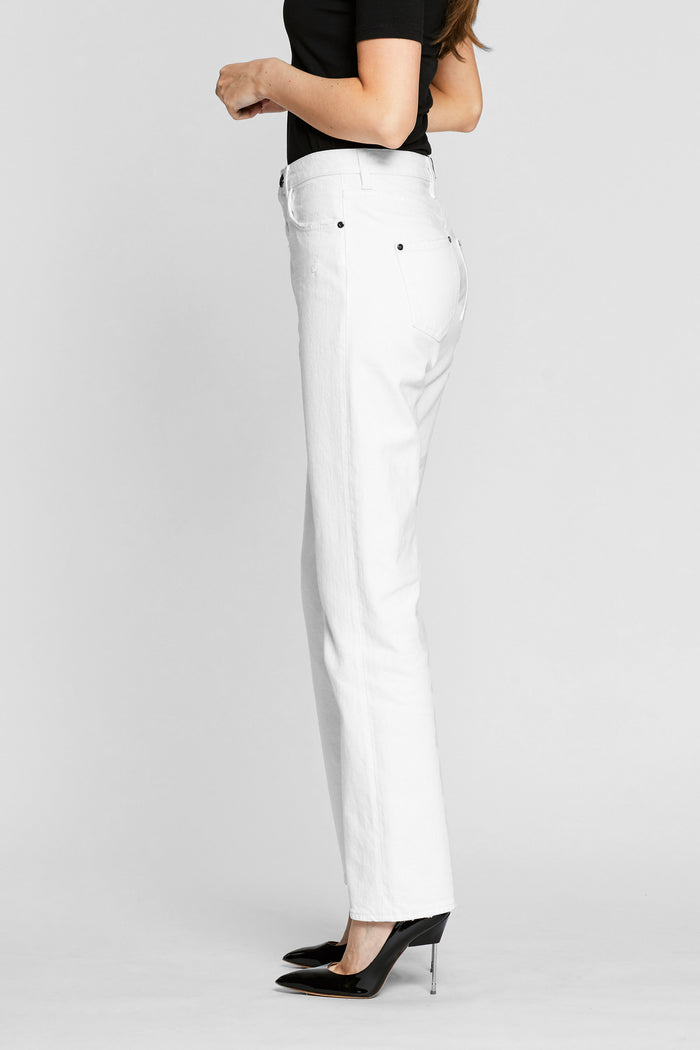 Women - White Straight Jean - Italian Organic Denim - side image - one denim