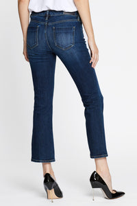 Women - Cropped Flare Jean - Deep Blue - Japanese denim - back image - one denim