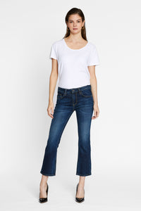 Women - Cropped Flare Jean - Deep Blue - Japanese denim - front image - one denim