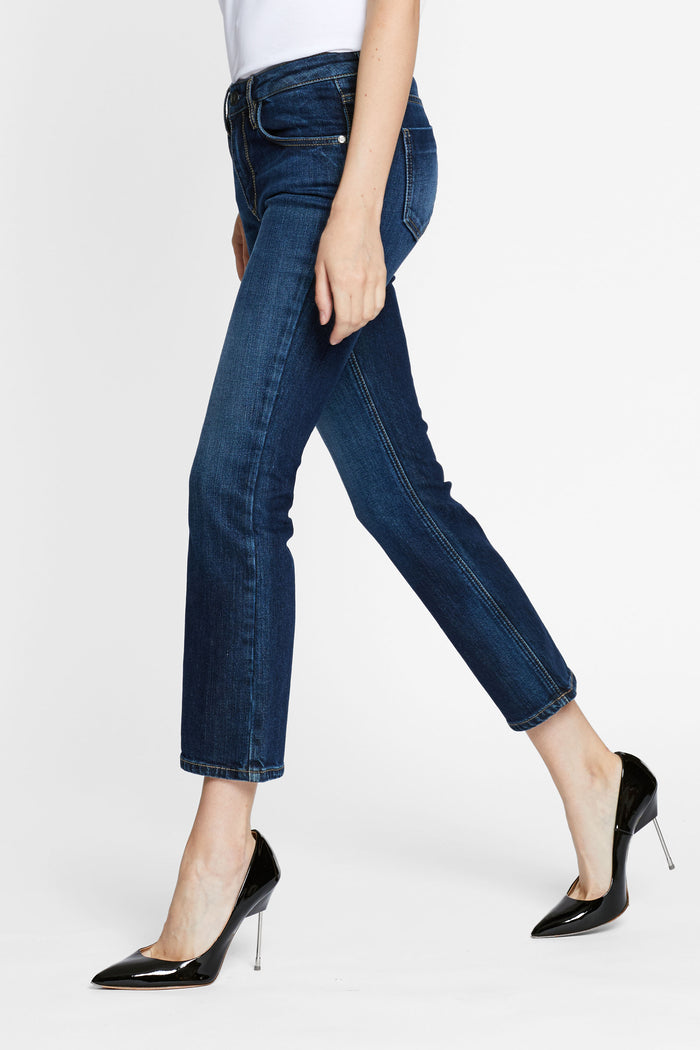 Women - Cropped Flare Jean - Deep Blue - Japanese denim - side image - one denim
