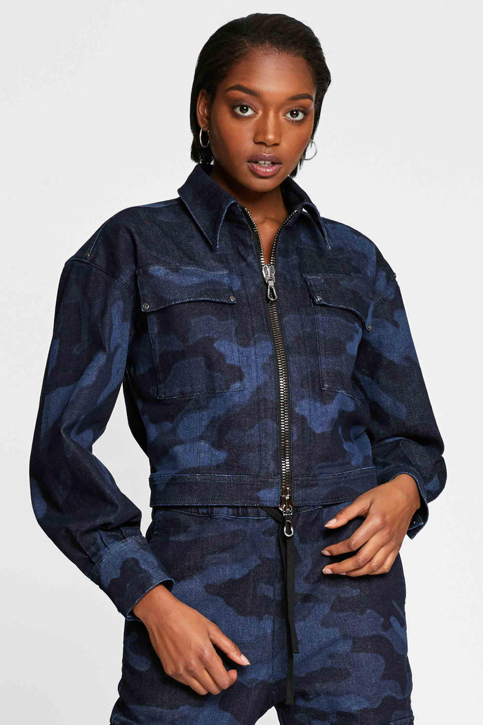 Women - Denim Jacket - Laser Military - Italian Recycled Denim - front 2 image - one denim