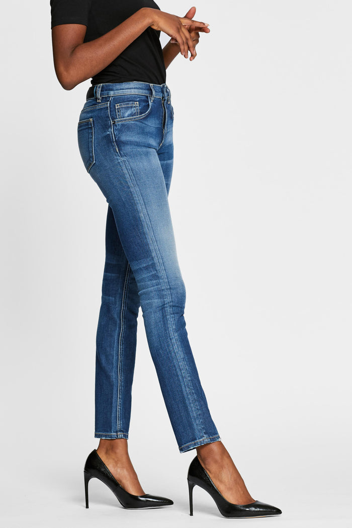 Women - Skinny Cigarette Jean - Light Blue - Japanese Denim - side image - one denim