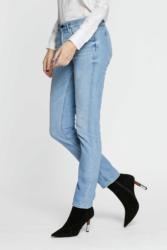 Women - Skinny Cigarette Jean - Light - Japanese Selvedge Denim - side image - one denim