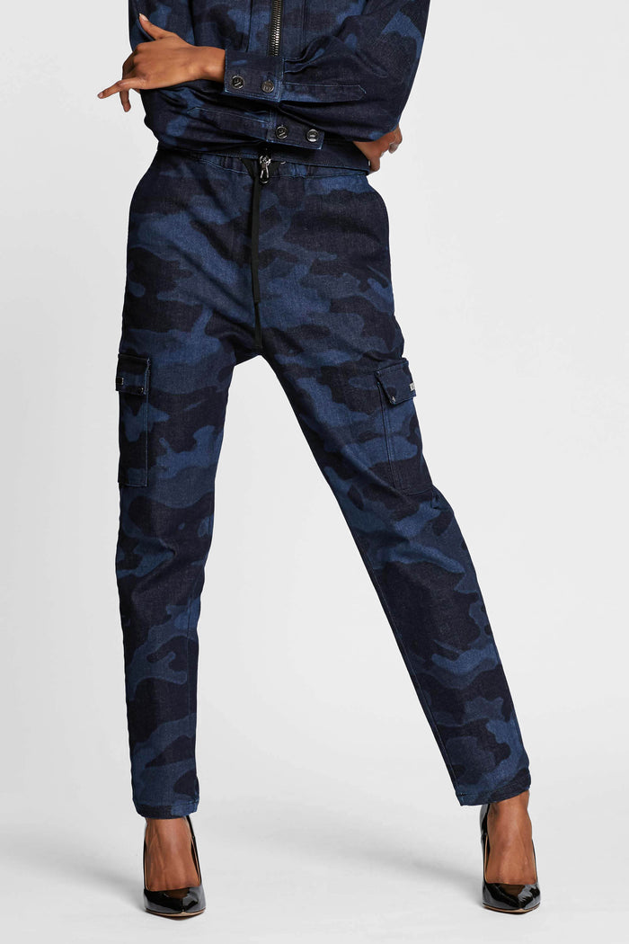 Women - Denim Cargo pant - Laser Military - Italian Recycled Denim - front 2 image -one denim
