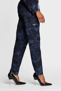 Women - Denim Cargo pant - Laser Military - Italian Recycled Denim - side 2 image - one denim