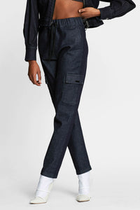Women -  Denim Cargo Pant - Raw Italian Denim - front 2 image - one denim
