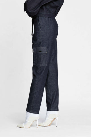 Women -  Denim Cargo Pant - Raw Italian Denim  - side image - one denim