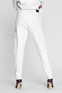 Women - White Denim Cargo pant  - Italian Organic Denim - back image - one denim