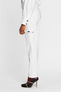 Women - White Denim Cargo pant  - Italian Organic Denim - side image - one denim