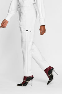 Women - White Denim Cargo pant  - Italian Organic Denim - side 2 image - one denim