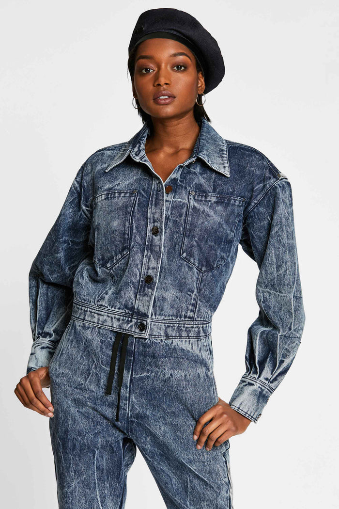 Women - Oversized Denim Jacket - Italian Organic Denim - front image - one denim