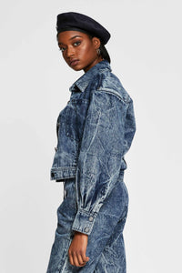 Women - Oversized Denim Jacket - Italian Organic Denim - side image - one denim