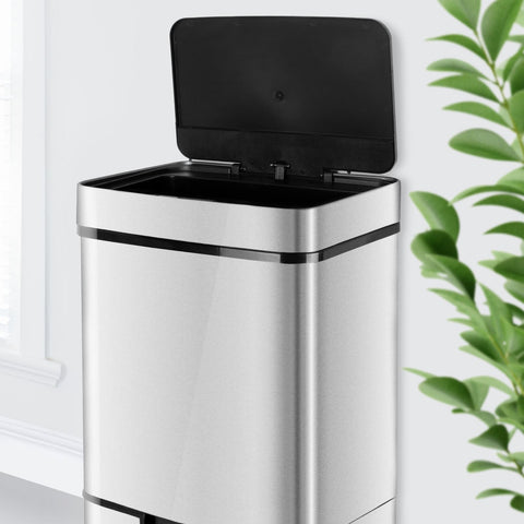 75L Steel Multi-compartment Recycling Automatic Sensor Bin
