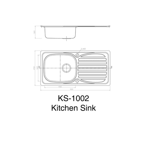 1002 Single Bowl Kitchen Sink with Waste