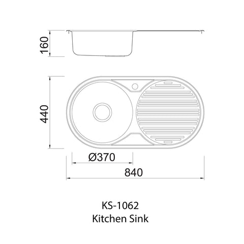 1062 Single Bowl Kitchen Sink with Waste