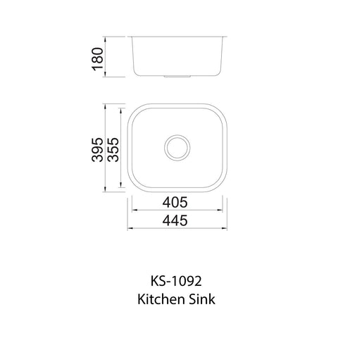 1092 Single Bowl Kitchen Sink and Waste