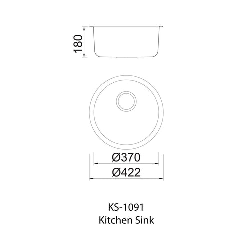 1091 Single Bowl Kitchen Sink and Waste