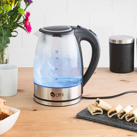 1.8L Corded Glass Kettle with Illuminating Blue LED Lights