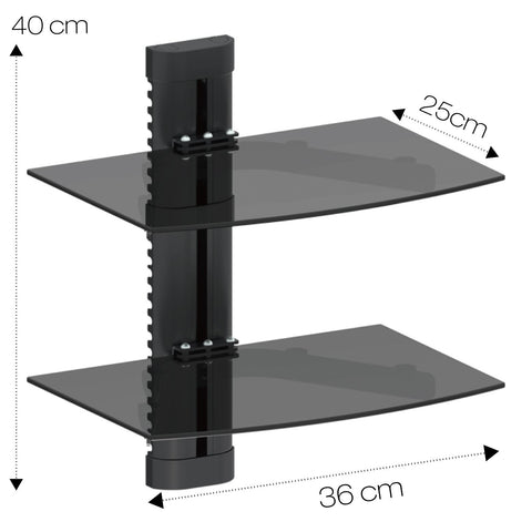 Double Glass DVD Console Shelf