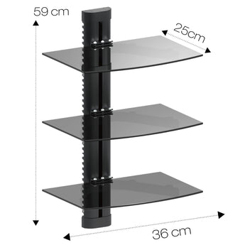 Triple Glass DVD Console Shelf