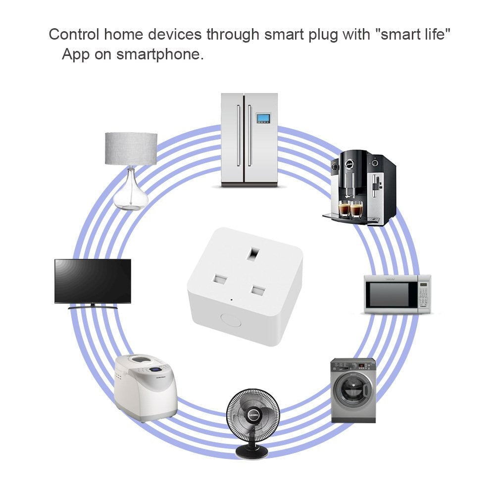 4 Pack UK smart socket wifi plug Remote Control UK power switch Working  with Amazon Alexa and Google for smart life