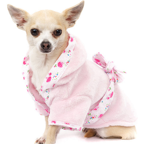 Personalised Dogs Pink Plush & Fluffy Dressing Gown By Urban Pup