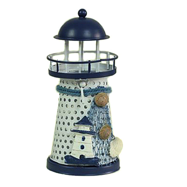Blue and White Lighthouse Candle Holder