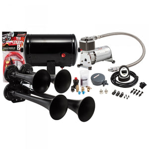 KLEINN HK4-1 BLACK QUAD AIR HORN KIT UNIVERSAL - MANY MAKES & MODELS