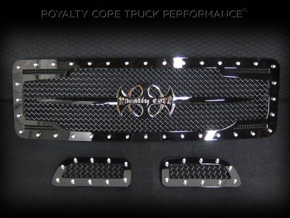 ROYALTY CORE Ford Super Duty 1999-2004 RC2 Twin Mesh Main Grille 3 Piece with Chrome Logo