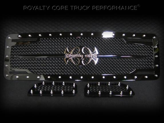 ROYALTY CORE Ford Super Duty 2005-2007 RC2 Twin Mesh Main Grille 3 Piece with Chrome Logo