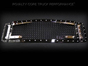 Royalty Core RC3DX Black & Chrome Main Grille 3 Piece No Sword for 2008-2010 Ford F-250/350 Super Duty