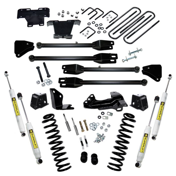 Superlift 4 inch Lift Kit - 2005-2007 Ford F-250 and F-350 Super Duty 4WD - Diesel Engine - with a 4-Link Conversion and Superide Shocks